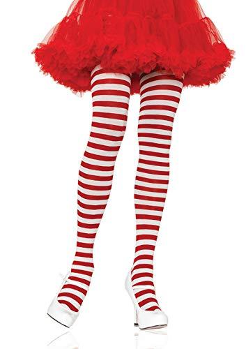 LEG AVENUE 7100 - Blickdichte Ringel-Strümpfhose Kostüm Damen Karneval, Einheitsgröße, weiß/rot