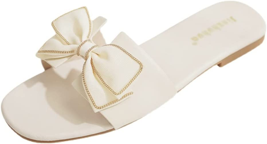 Flat Sandals With Bow, Slippers Women Summer Outdoor Women Summer Sandals Slippers Open Weave Flats Slip On Cute Sandals For Women Casual Summer Vacation Essentials ( Color : White , Size : EUR37 )