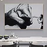 Leinwand Kunst Abstrakte Schwarz-Weiß-Faust Wandkunst