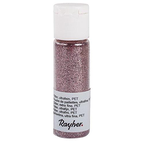 Rayher 39420258 Flitter, ultrafein, PET, Fläschchen 20 ml, rosé