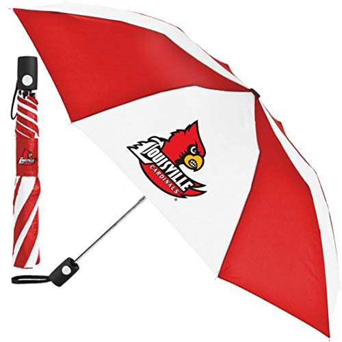 Learn More About WinCraft NCAA Louisville Cardinals Red and White Umbrella 42 inches Automatic Foldi...