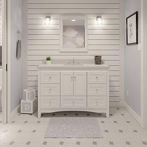Abbey 48-inch White Bathroom Vanity (Quartz/White): Includes a White Cabinet, Quartz Countertop, Soft Close Drawers and Doors, and Rectangular Ceramic Sink