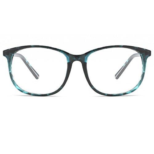 KOOSUFA Klassische Retro Brillengestelle Nerdbrille Herren Damen Federscharniere Brille Ohne Sehstärke Streberbrille Groß Rund Pantobrille Vintage Brillenfassung mit Etui (Türkisblau)