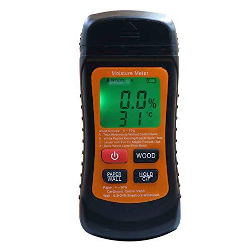 Adaskala Holzfeuchtemessgerät Digitaler Feuchtigkeitsdetektor Feuchtigkeitsprüfer Feuchtigkeitsprüfer Feuchtigkeitsmesser Tragbares Hygrometer-Thermometer für Holzbaustoff Wände Papier