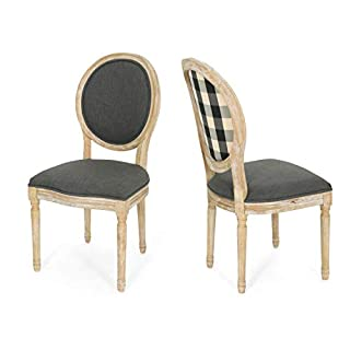 Great Deal Furniture 306409 Reed Upholstered Farmhouse Dining Chairs, (Set of 2), Dark Gray + Black Checkerboard + Natural (B07GXM127C) | Amazon price tracker / tracking, Amazon price history charts, Amazon price watches, Amazon price drop alerts