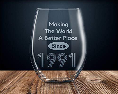 Copa de vino para 29 cumpleaños, 29 años, 29 años, 1991, 17 onzas