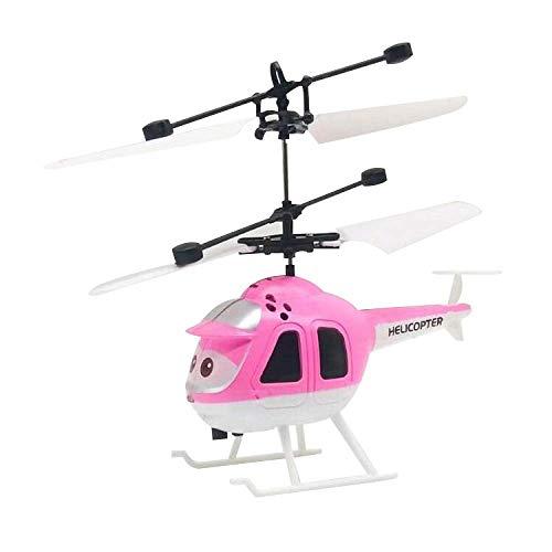 JIALI Mini helicóptero de inducción, Volando RC Bola eléctrica led Intermitente luz de avión de Aviones de Juguete de inducción para niños, Rosa