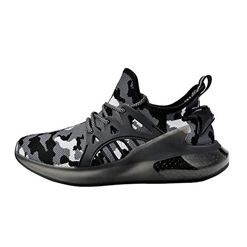 Feetmat Mens Non Slip Work Shoes Breathable Zapatos Tennis Running Walking Athletic Sneakers Tenis para Hombres Camouflage Black Size 11