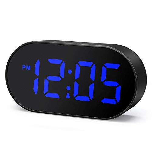 Plumeet Despertador Electrónico, Reloj Despertador LED con Atenuador y 2 Niveles de Volumen, Despertador Digital de Cabecera con Interfaz USB y Fácil de Usar (Azul)
