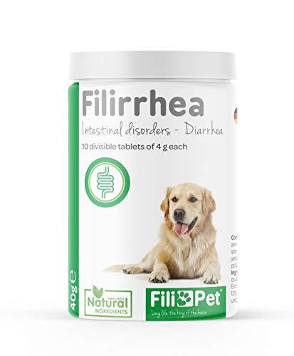 Filipet Pastillas Anti diarrea para Perros, FILIRRHEA es un suplemento para Perros Natural Que actúa rápidamente de Manera gastrointestinal para Cortar la diarrea a su Perro. 10 Comprimidos de
