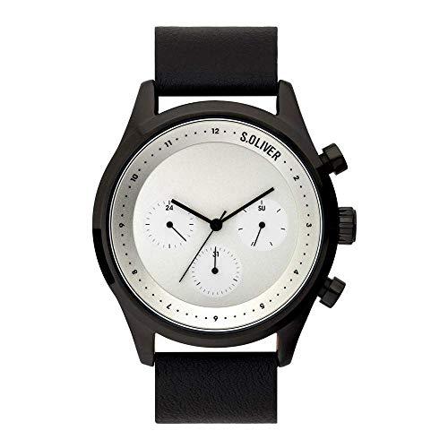 s.Oliver Herren Analog Quarz Uhr mit Leder Armband SO-3721-LM