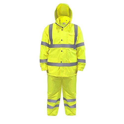 JORESTECH Safety Rain Set/Jacket Reflective High Visibility Yellow JK-03 / Pants Lime ANSI 150D Heavy Duty PANTS-03 (XL)