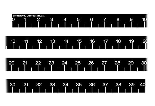 Self Adhesive Measuring Tape 40 inch Long Printed Sticker Boat Fish Fishing Decal (Black)