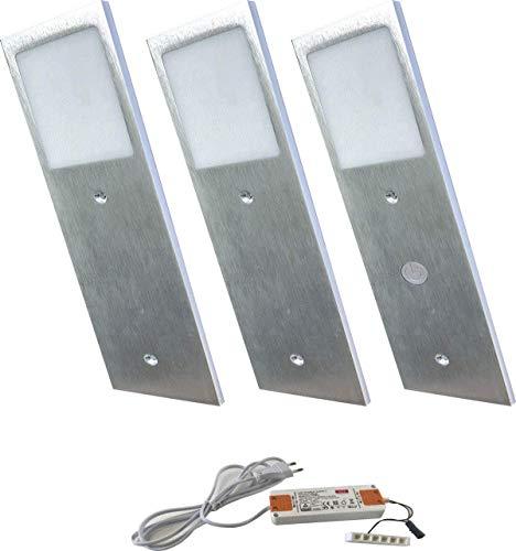 ACCE Super dünn und Aluminiumkörper LED Unterbauleuchte Küchen Möbel Leuchte Warmweiß inkl Konverter ein Strahler mit Schalter Energieeffizienzklasse A++ (3ER)
