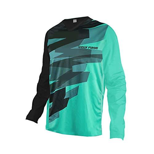 UGLY FROG Uglyfrog Designs Bunt Herren Sommer&Frühling Lange Ärmel V-Kragen Motorsport/Motorrad/Downhill Moto Cycling Racing Racer T-Shirt