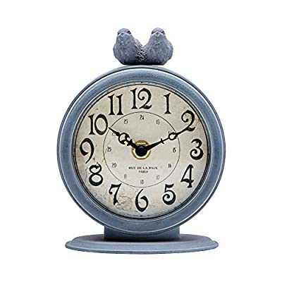 "NIKKY HOME Shabby Chic Pewter Quartz Table Clock with 2 Birds, 4.7"" x 2.4"" x 6.1"" Light Slate Grey"
