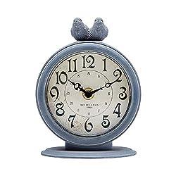 NIKKY HOME Shabby Chic Pewter Quartz Table Clock with 2 Birds, 4.7 x 2.4 x 6.1 Light Slate Grey