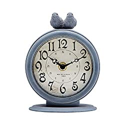 NIKKY HOME Vintage Table Clock, Shabby Chic Pewter Round Quartz Shelf Desk Clock with 2 Birds, 4.7 x 2.4 x 6.1 Light Slate Grey