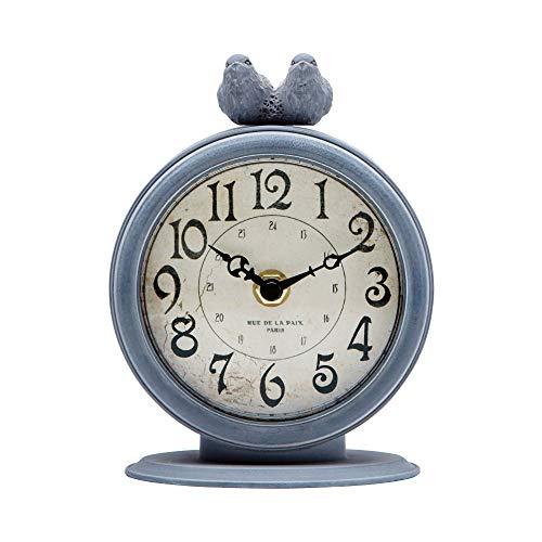 NIKKY HOME Orologio da Tavolo Vintage al Quarzo Regalo Decorazione per la Casa Camera Metallo Grigio