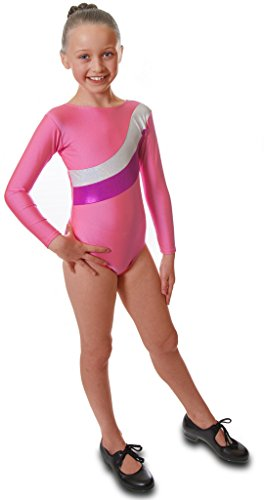 Vincenza Dancewear 'Shimmer' Girls Long Sleeved Leotard for Gymnastics (Pink and Silver Stripe, 8-9 Years)