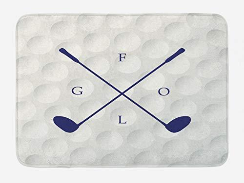 ABAKUHAUS Golf Tapete para Baño, Palos de Golf en el Fondo de la Bola, Decorativo de Felpa Estampada con Dorso Antideslizante, 45 cm x 75 cm, Indigo Coco