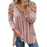 Likeu Blusa de manga corta con cuello en V para mujer, con tiras y hombros descubiertos, Camisa-5, M
