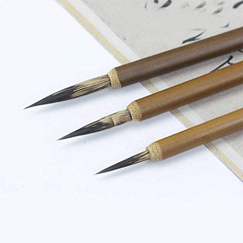 TWDYC 3 unids/Set Weasel Línea de Gancho de Pelo Cepillo de Pintura Fino Pincel de caligrafía China Pen Pintura Pincel Art Cepillo de Pintura al óleo estacionario