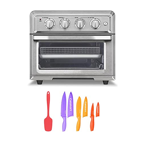 Cuisinart TOA-60 Air Fryer Toaster Oven (Silver) with 6-Piece Nonstick Chef Knife Set and Silicone Spoon Spatula Bundle (3 Items)