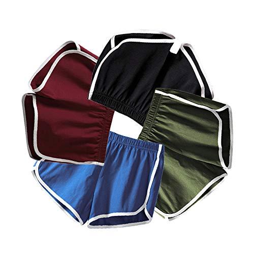 Mujeres Deportes Gimnasio Ejercicio Cintura Flaca Yoga Pantalón Corto Pantalones Retro Cortos Verano Shorts Casuales (EU S=Tag L (Cintura 58-62cm), 4 Piezas (Negro + Azul+ Vino Rojo + Verde))