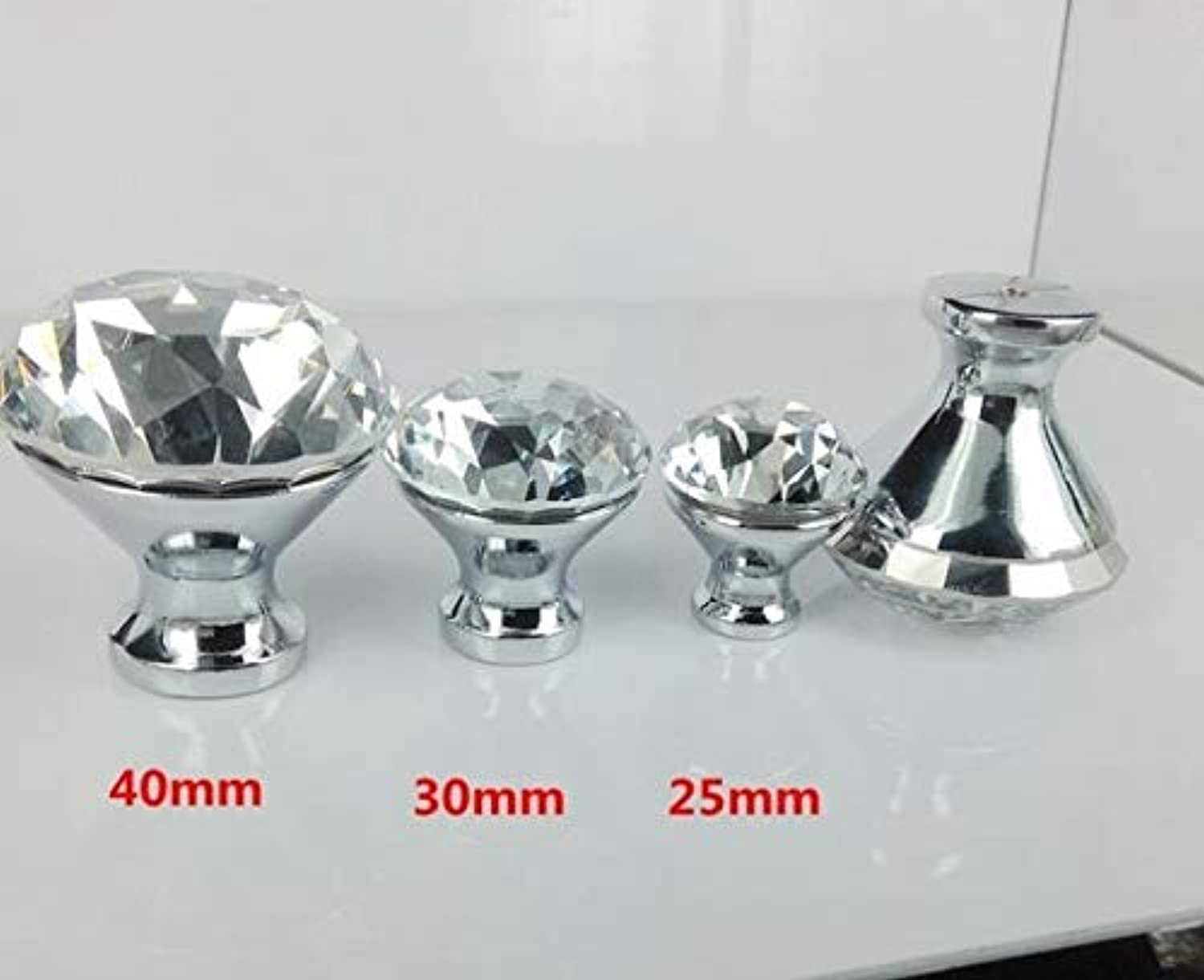 Diamond Crystal Glass Cabinet Knob Cupboard Drawer Pull Handle Kitchen Cabinet Door Wardrobe Handles Hardware Wholesale  (color  100pcs Silver, Size  25mm)