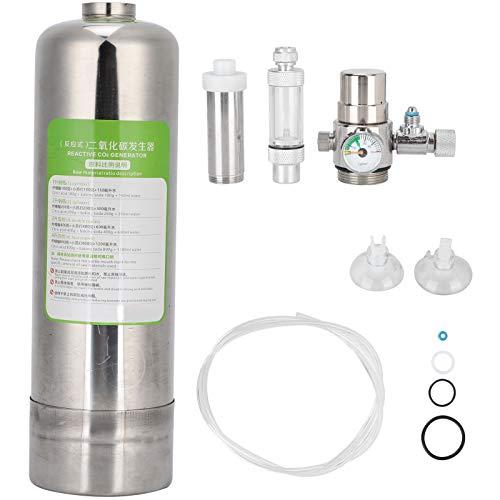 Kit Reattore Anidride Carbonica Kit Sistema Generatore CO2 Acquario Sistema Generatore Cilindro in Acciaio Inox con Diffusore per Piante Acquario(2L)