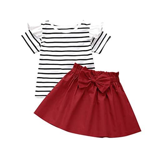 0-10 años de edad, conjunto de trajes de niña de manga corta rayas florales camisetas y falda de lazo,...