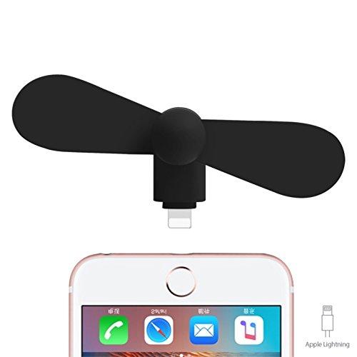 USB Ventilador Fan Negro para teléfono móvil/Smartphone iPhone 6, 7s, Plus, iPad Mini con Conector Lightning, Flexible & Silencioso & portátil y bajo Consumo de TK de Grupo (iPhone Ventilador)