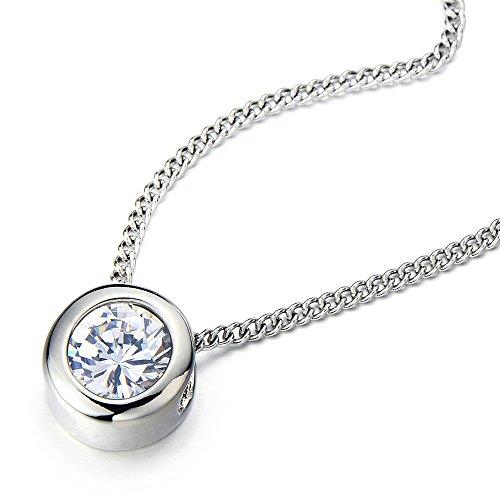 COOLSTEELANDBEYOND 6.5mm Zirkonia Runde Solitär Lünette Anhänger Halskette für Damen Edelstahl Farbe Silber mit 50cm Stahl Kette