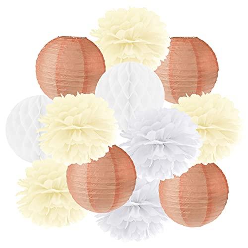 Hängedekoration 12 teilig Mix - Lampions, Wabenbälle/Honeycombs, Pompoms (apricot/creme/weiß)