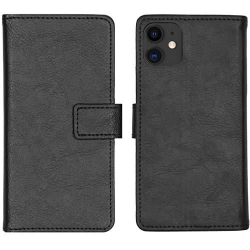 iMoshion kompatibel mit iPhone 11 Hülle – Luxuriöse Handyhülle – Handytasche in Schwarz [Mit Ständer, Platz für 3 Karten, Magnetverschluss]