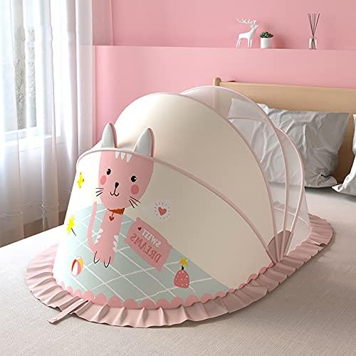 HUANXI Bezpieczny Namiot Do Łóżeczka Dziecięcego, Przezroczysta Siatka Premium Baldachim Do Łóżeczka Moskitiera Chroń Dziecko Przed Upadkiem I Ugryzieniem, Pink,98x55x60cm