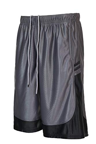 StyLeUp Men's Active Athletic Mesh Basketball Gym Shorts, Charcoal - Stripe, 5X-Large