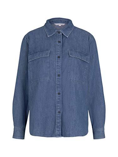 TOM TAILOR Denim 1024851 Shirt Blusas, 10113 Clean Mid Stone Blue-Piedra de Juguete, XXL para Mujer