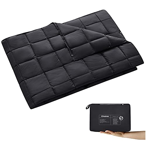 KingCamp Black Packable Lightweight Travel Down Alternative Warm Camping Blanket, Compact Outdoor Waterproof Insulated Blanket for Airplane, Hiking, Backpacking, Stadium, Park