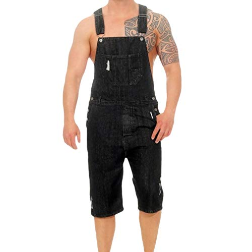 Juleya Herren Retro Short Denim Latzhose Overall Mode Zerrissene Loch Kurze Jeans Overall Einteiliger Overall