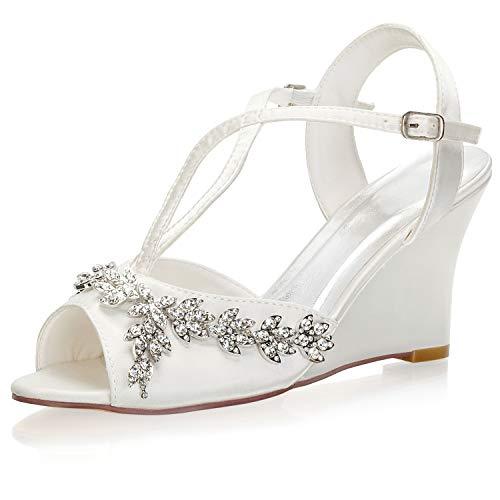 Emily Bridal Zapatos Nupciales Peep Toe Rhinestone Detail Zapatos de cuña Correa...