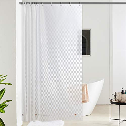 Furlinic Transparent Duschvorhang für Badewanne & Dusche in Badezimmer Wasserdicht Badvorhang Anti-schimmel aus Eva Rechteck mit 12 Ringe 180x210 Saum mit Steinen.
