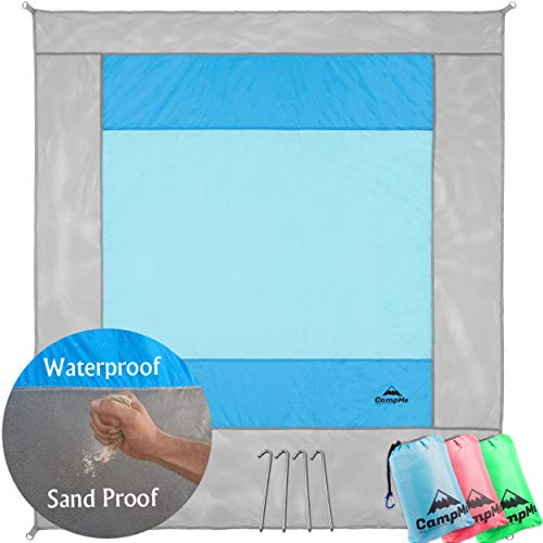 Beach Blanket Sand Proof, Sand Free and Waterproof Combined - Large Outdoor Beach Mat/Sand Mat, Quick Drying and Washable, Lightweight & Durable, Big Blanket 79'X86' And Compact, 4 Metal Stakes (blue)