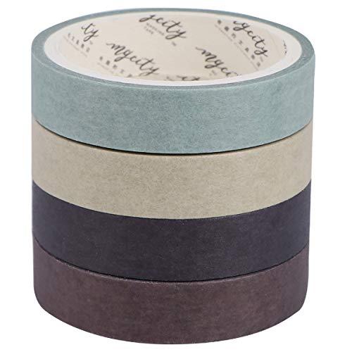 TINKSKY マスキングテープ 8巻セット 和紙テープ DIY 可愛い 手帳テープ 手帳シール 手工芸品 ギフト 装飾用テープ 剥がしやすい(コーヒー)
