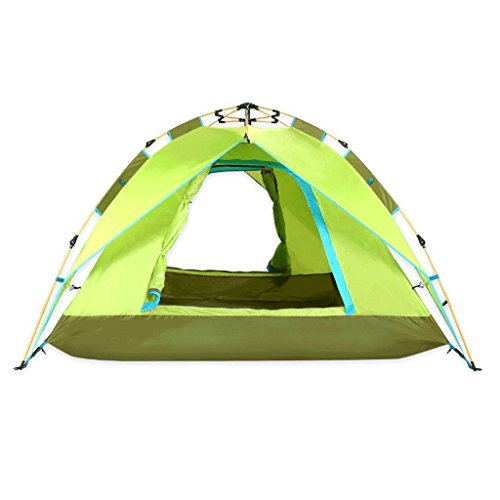 HYAN Tent Outdoor camping automatic tent, light waterproof insect repellent comfortable family camping tent, green double mesh shade shade shed Shelters (Color : Green)