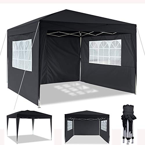 Cenador plegable 3 x 3 m / 3 x 6 m, resistente al agua, para jardín, para fiestas, festivales, gazebo plegable, protección solar (3 x 3 m), color negro