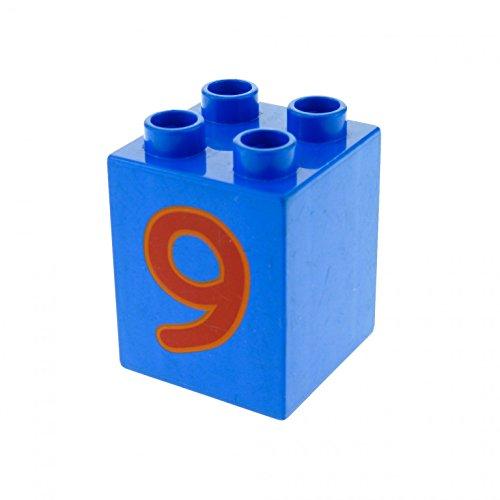 1 x Lego Duplo Basic Bau Stein blau 2 x 2 x 2 hoch bedruckt mit Nummer 9 für Set Zahlen Lernspiel 5497 31110pb029