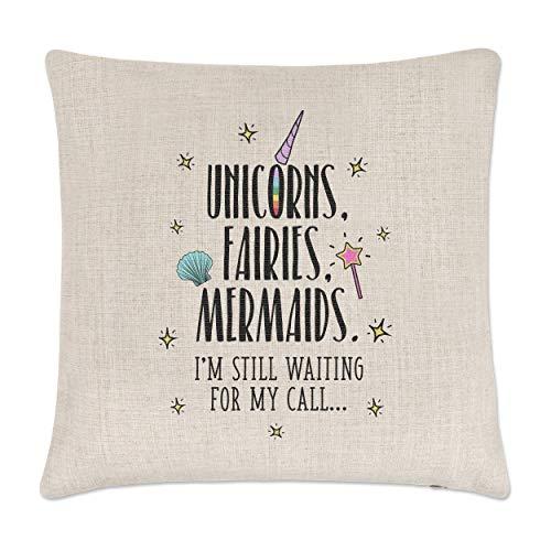 Unicornios hadas Mermaids esperando mi llamada lino funda de cojín