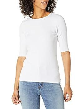 Michael Stars Women s Tara Rib Elow Sleeve Crew Neck White Medium